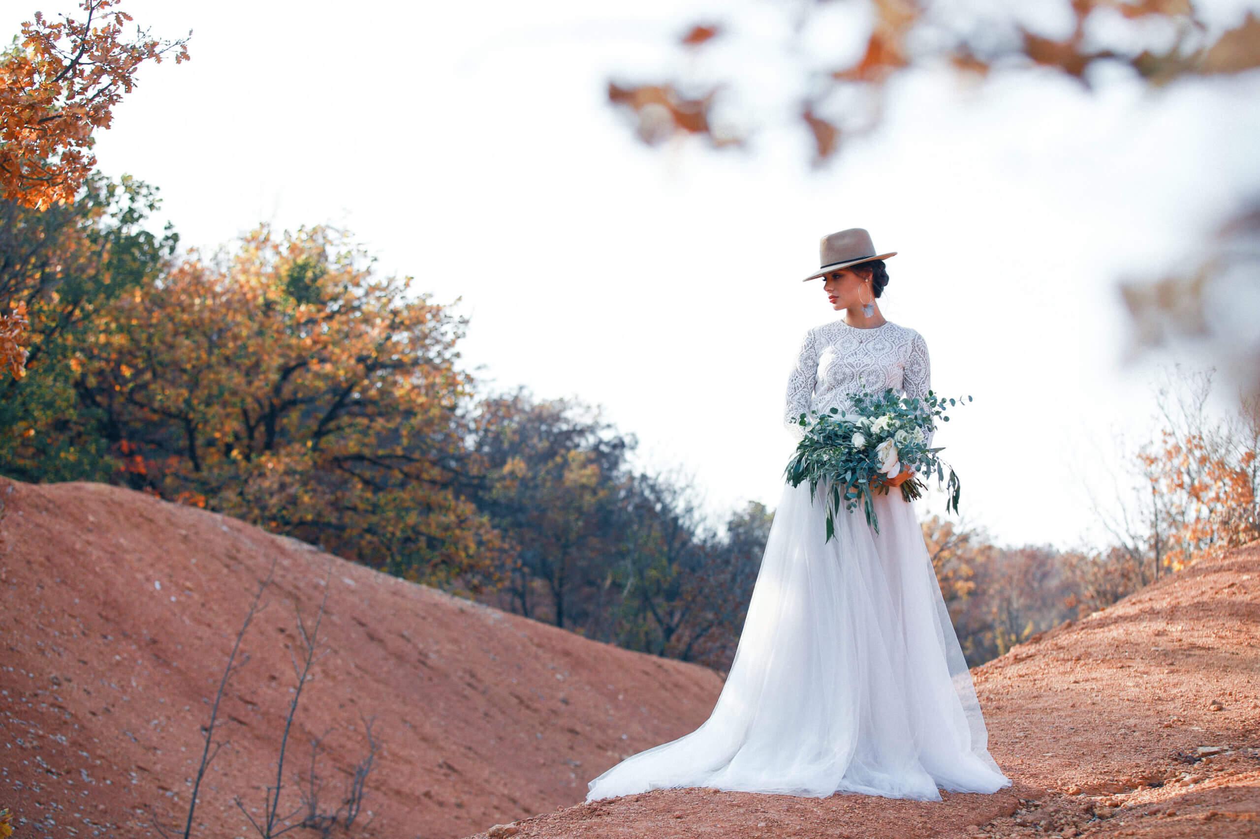 Boho Brautkleid lange Ärmel