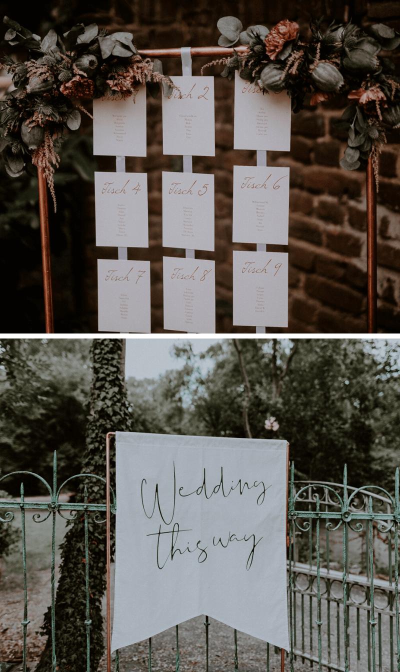 Hochzeit in Kupfer, Hochzeitsdeko Kupferrohr