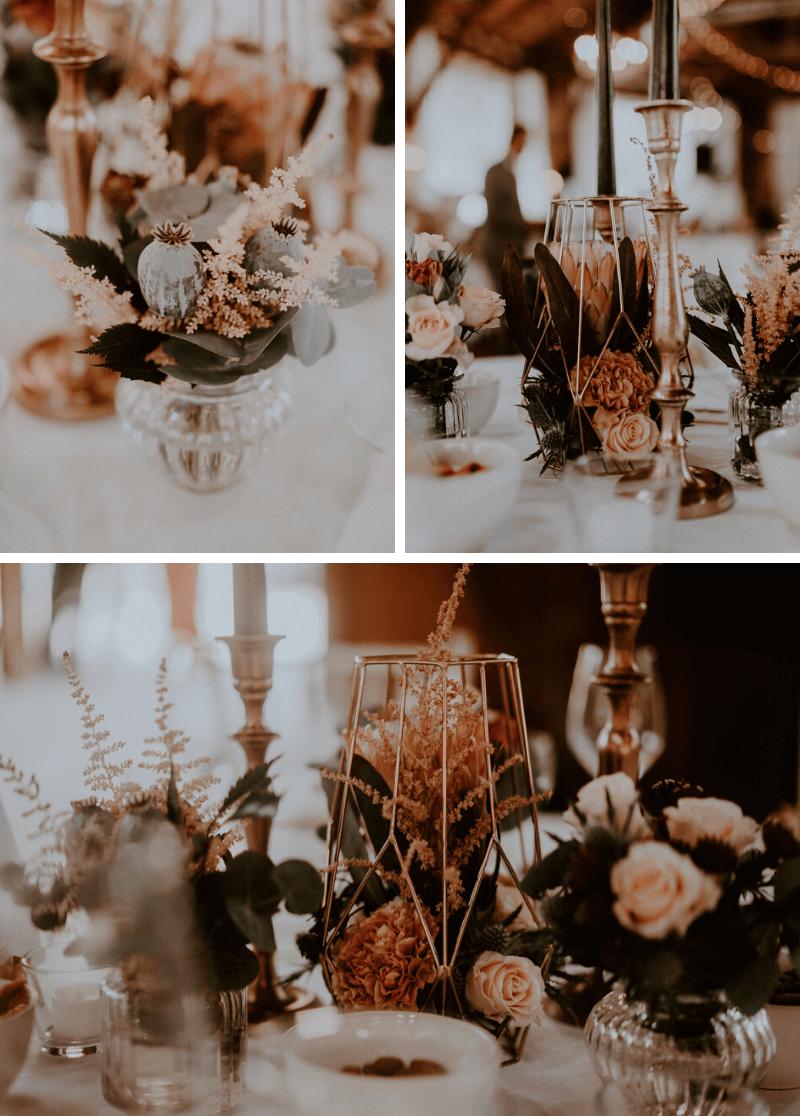 Tischdeko Hochzeit in Kupfer