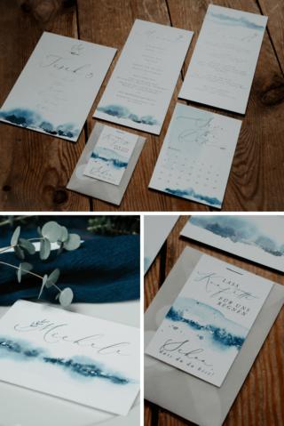 Hochzeitskarten blau aquarell