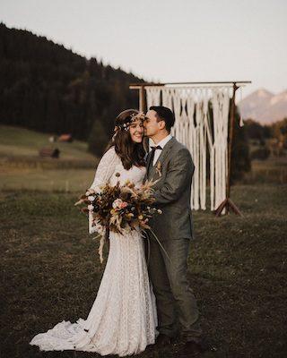 Ländliches Boho Brautpaarshooting