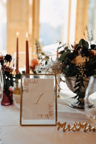 Elegante Tischdeko mit Boho Tischnummer