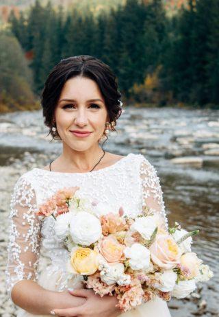 Sommerhochzeit Brautstrauß in Pfirsich und Gelb