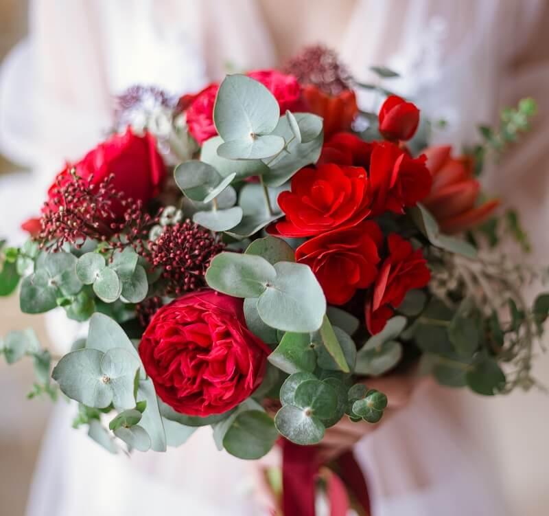 Brautstrauß Rot und Grün