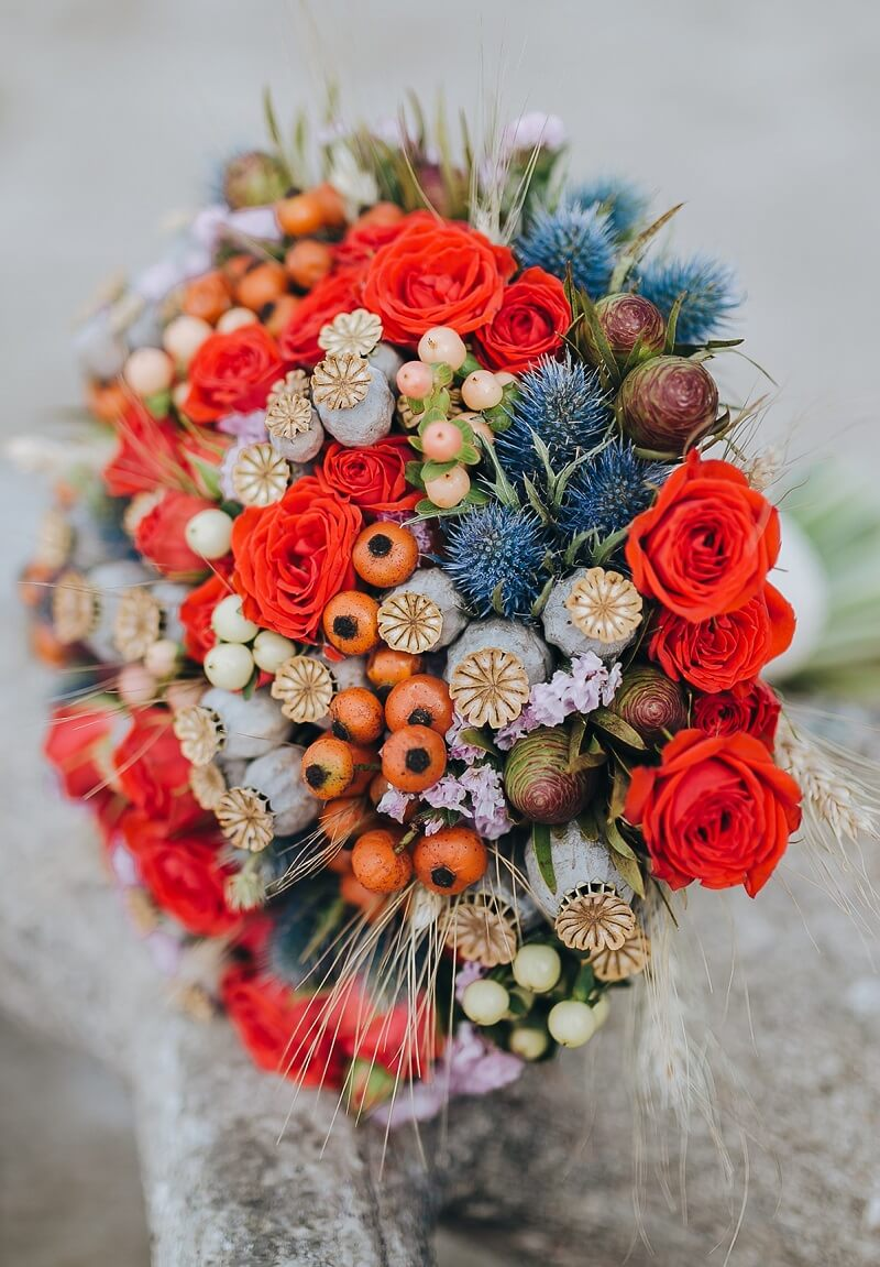 Brautstrauß in Hellrot
