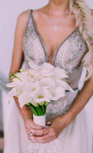 Brautstrauß mit weißen Callas