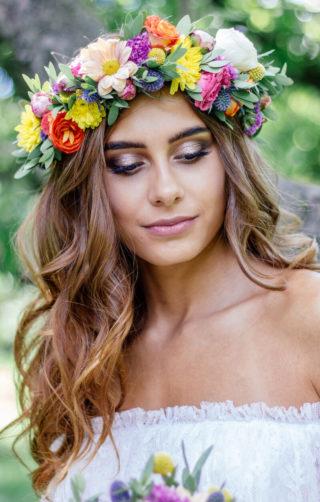 Haarkranz bunt für die Sommerbraut