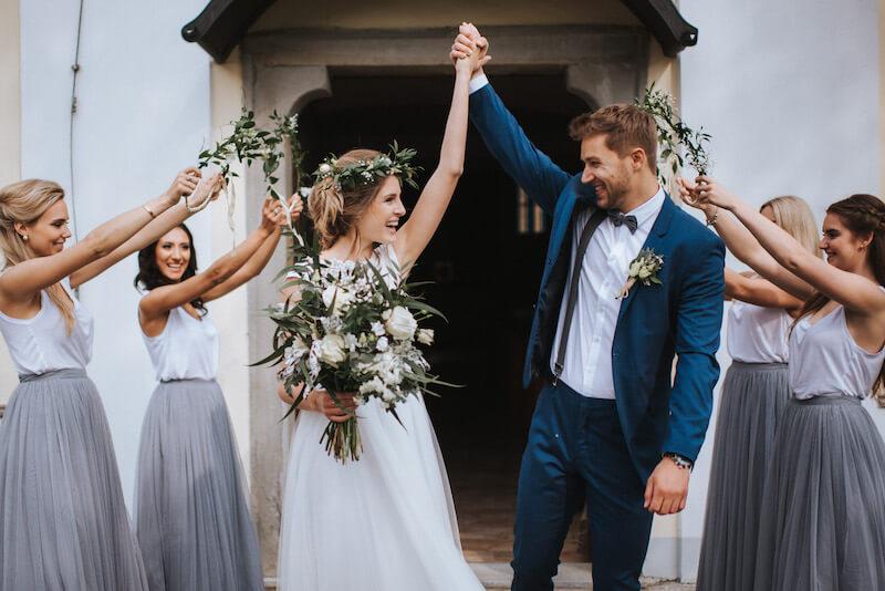Natürliche Hochzeit in Grün und Weiß