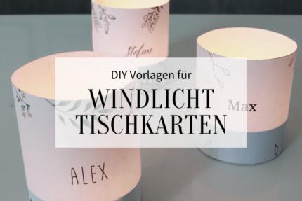 Windlicht Tischkarten Hochzeit