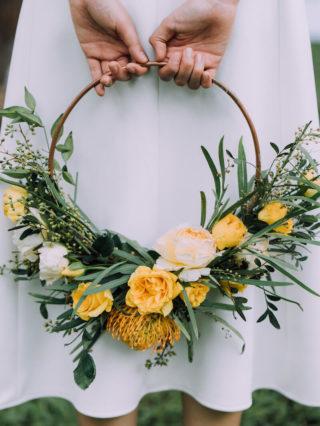 Ring Brautstrauß in Gelb