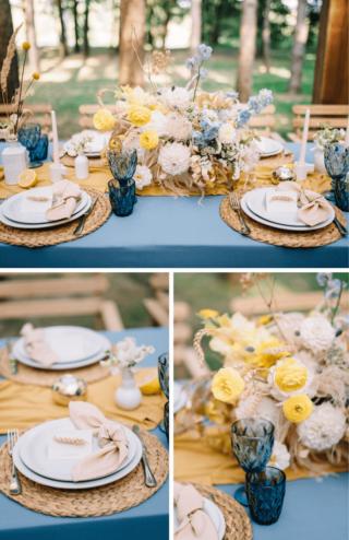 Tischdeko in Gelb und Blau