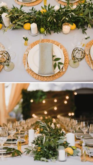 Tischdeko mediterran mit Olivenblättern und Zitronen