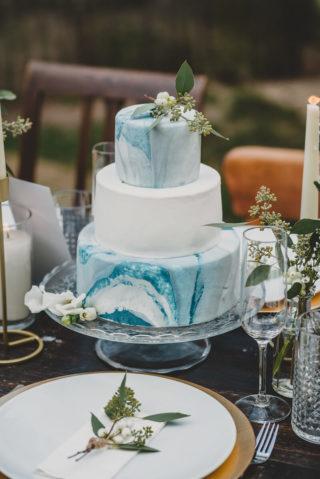 Fondant Hochzeitstorte mit Marmor-Optik