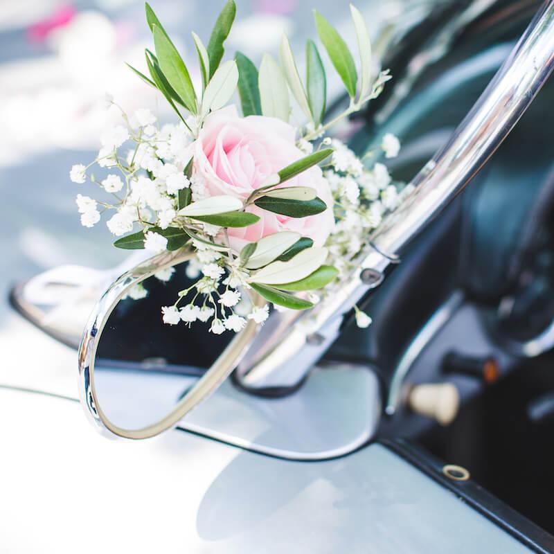 Hochzeitsauto Schmuck Seitenspiegel