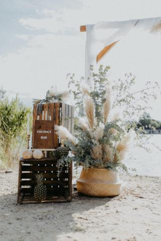 Hochzeitsdeko für eine Strandhochzeit