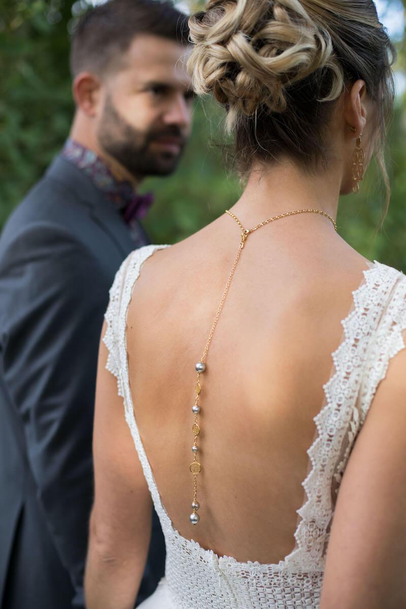 trendige Braut Rückenkette