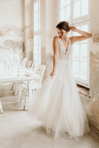 Brautkleid A-Linie mit Tüllrock