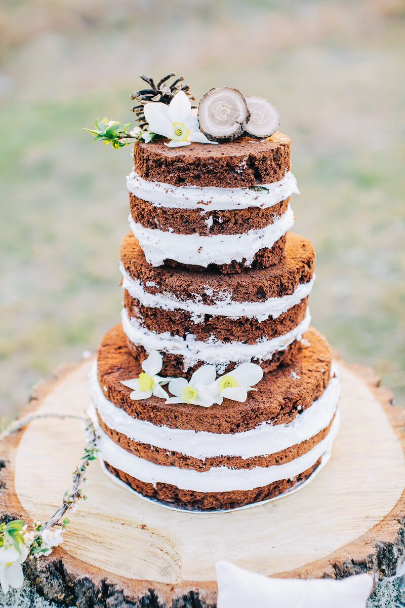 Naked Cake mit dunklem Teig