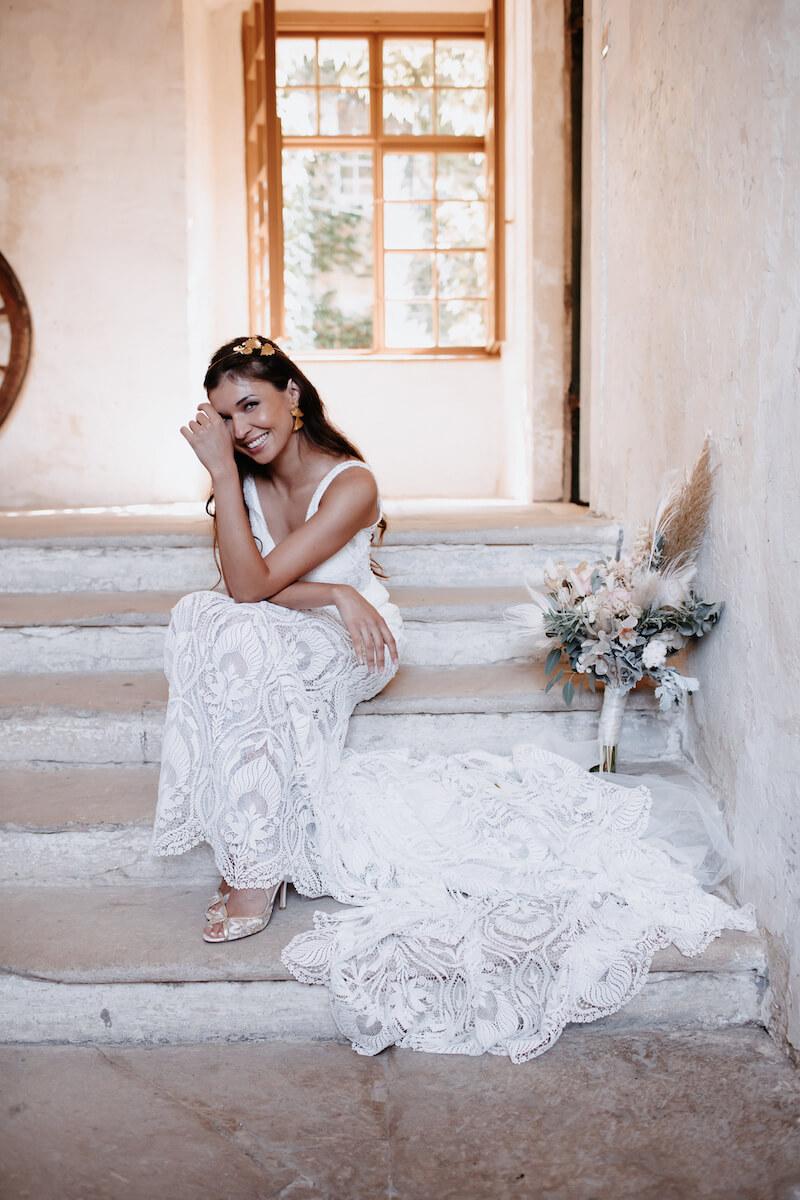 Boho Brautkleid mit verspielter Spitze, Foto: Monika Pachler-Blaimauer