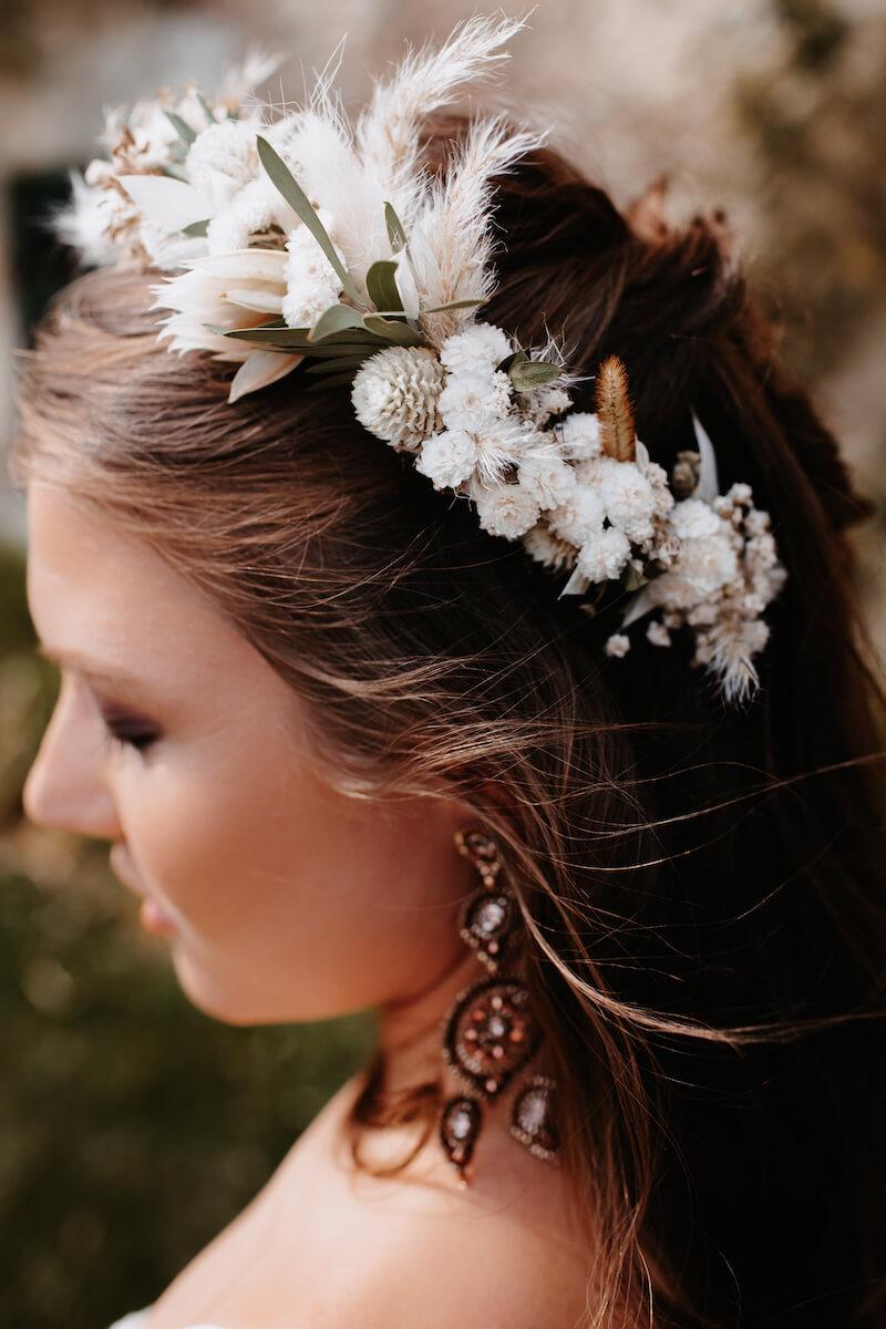 Braut Haarschmuck, Blumenkranz mit Trockenblumen