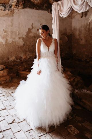 Glamour-Boho Tüll-Brautkleid