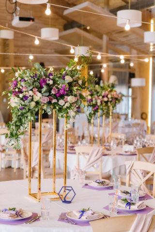Hochzeitstischdeko elegant lila