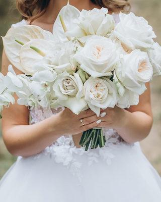 Brautstrauß mit Anthurien