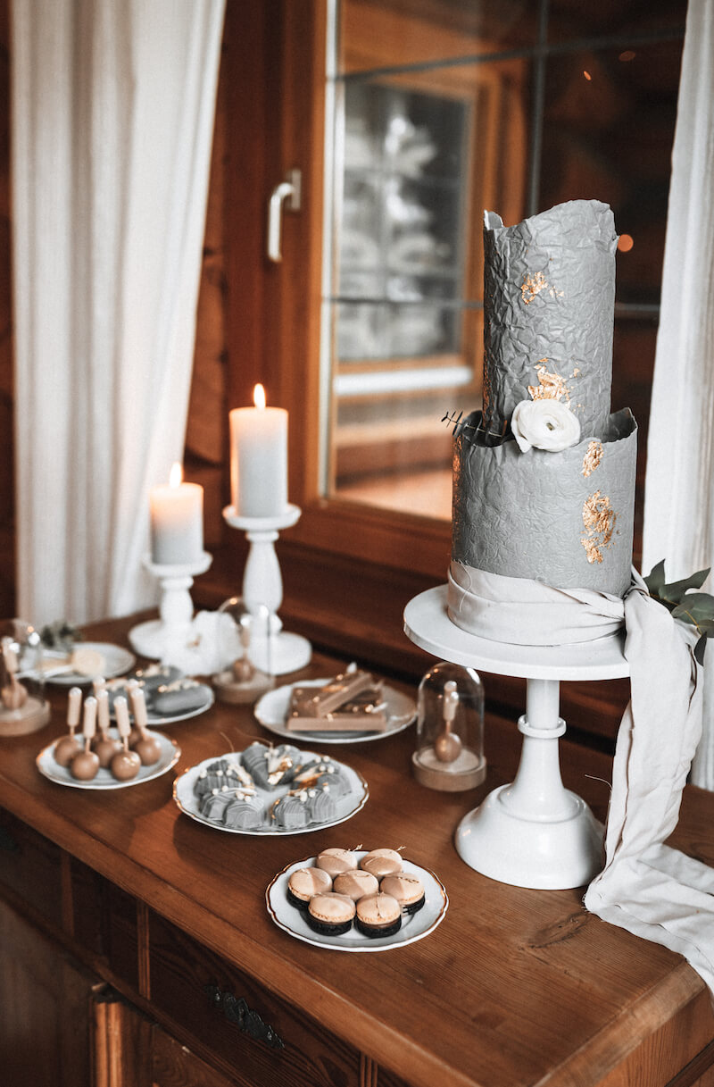 Sweet Table in Beige und Grau