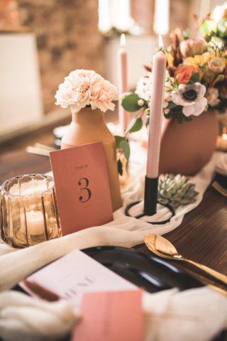 Terrakotta Hochzeit Tischdeko