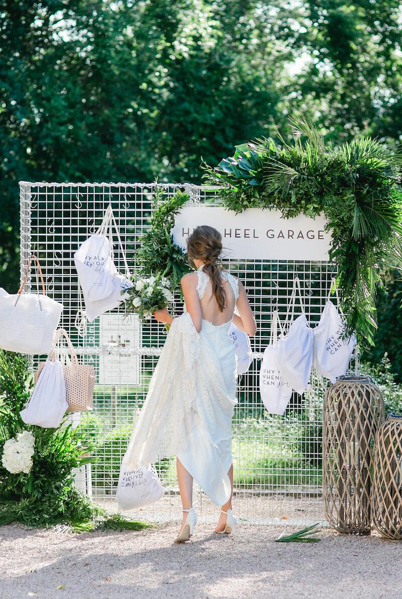 High Heel Garage Hochzeit