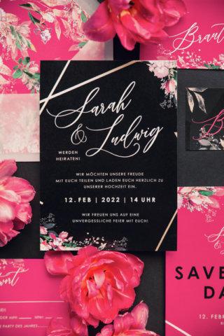 Edgy meets Pink: Rockige Hochzeit - Hochzeitseinladung