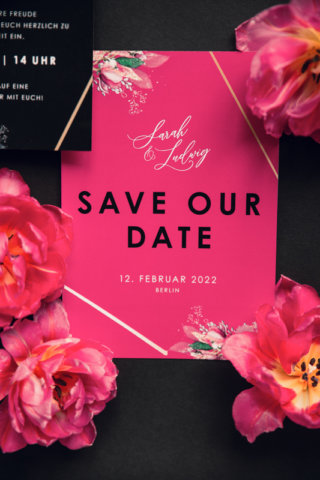 Edgy meets Pink: Rockige Hochzeit - Save the date