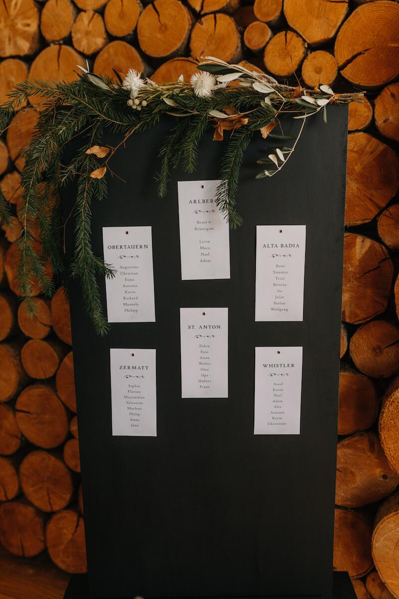 Hochzeit in den Bergen: Sitzplan mit Skigebieten als Tischnamen