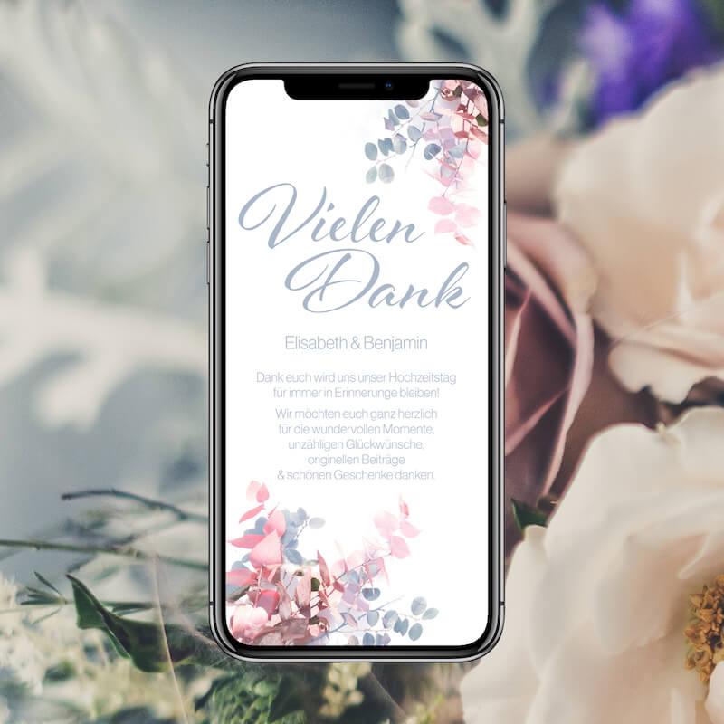 Danksagung via Hochzeitshomepage digital verschicken