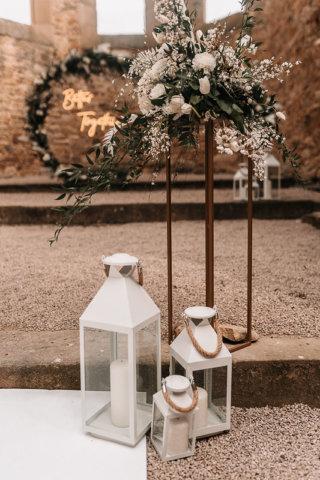 Highland-Hochzeit - Hochzeitsdeko weiß, grün, bronze