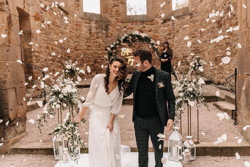 Highland-Hochzeit - Auszug Brautpaar