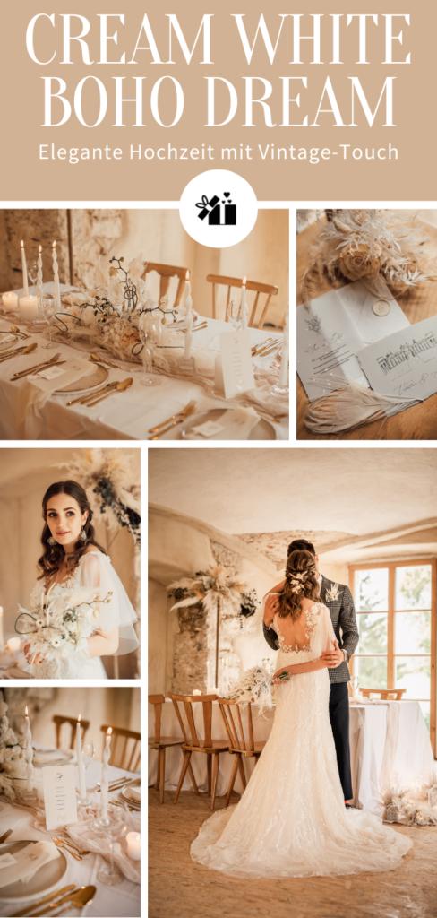 Cream White Boho Dream - Pinterest Collage