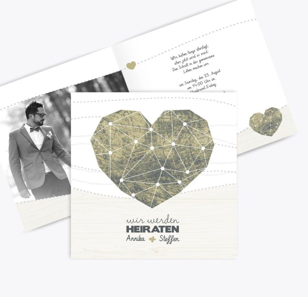Einzigartige Hochzeitseinladungen - geometrisch