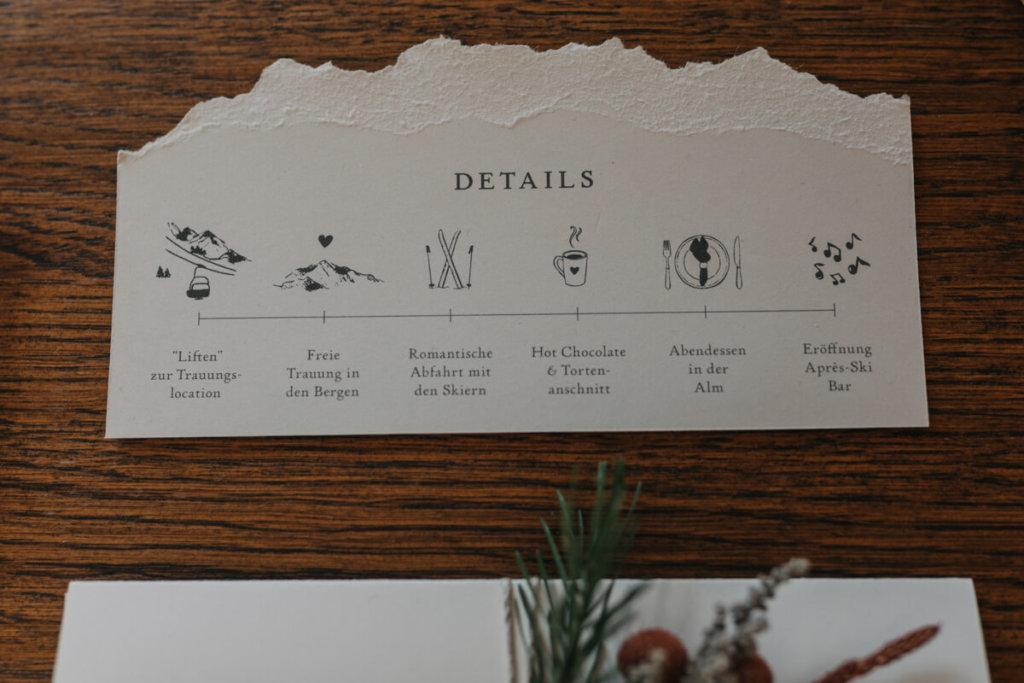 Einzigartige Hochzeitseinladungen - Hochzeit am Berg
