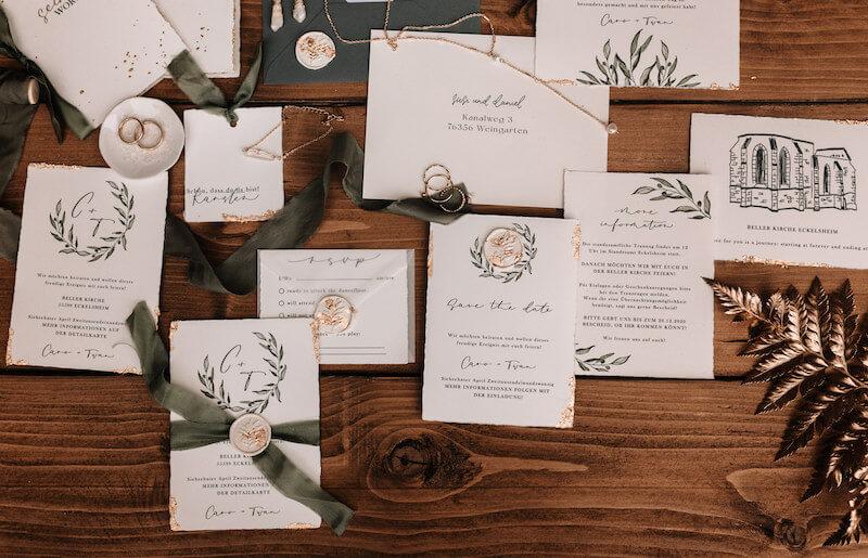 Einzigartige Hochzeitseinladungen - Greenery