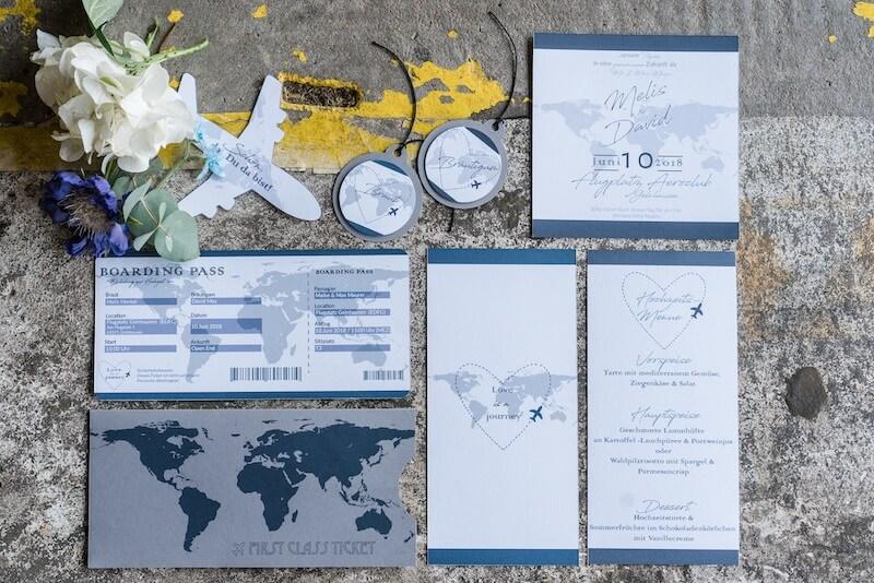 Einzigartige Hochzeitseinladungen - Flugzeuge