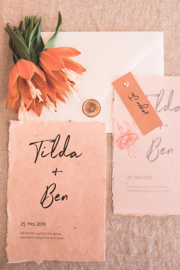 Einzigartige Hochzeitseinladungen - farbenfroh