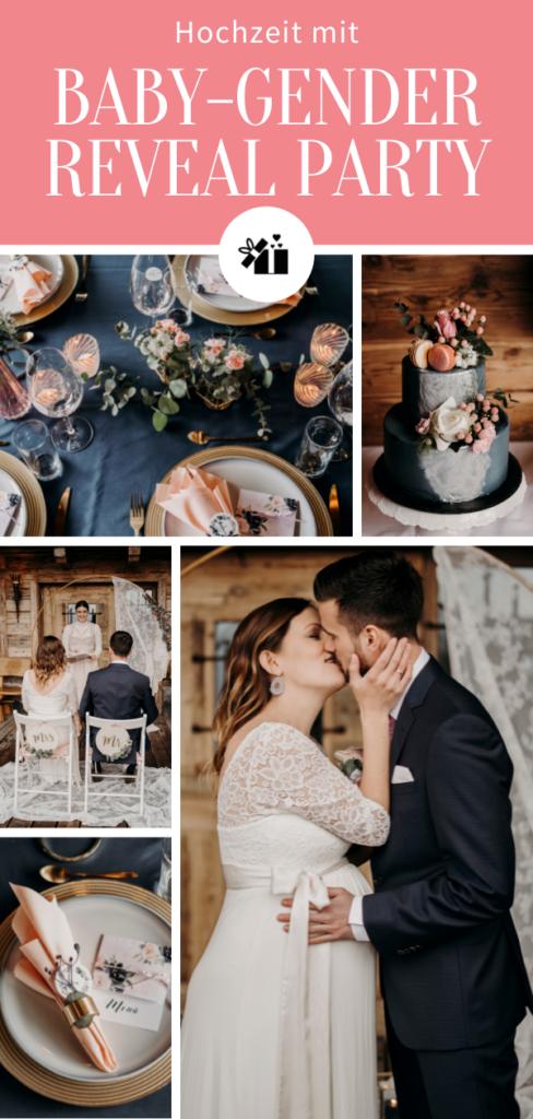 Hochzeit mit Baby-Gender-Reveal Party - Pinterest Collage