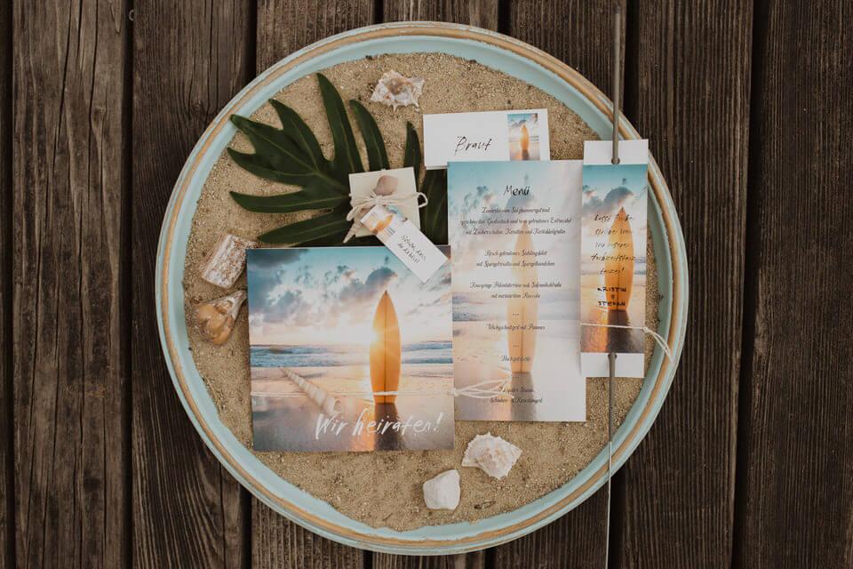 Strandhochzeit am See - Hochzeitseinladung