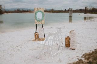 Strandhochzeit am See - Hochzeitsschiild